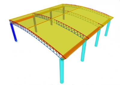 Modelado estructura metálica de la cubierta del coliseo deportivo (colegio nuestra señora del rosario)